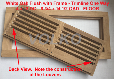 grooved louver construction on flush wood vent