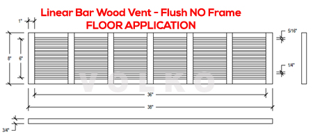 linear bar wood vent drawing spec cut sheet floor vent