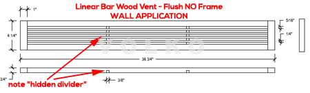 wall vent oak linear bar skinny wood vent