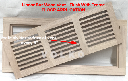 flush with frame linear bar wood floor vent oak register