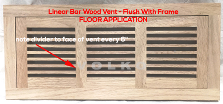 linear bar oak wood vent flush with frame register