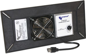 Powered crawl space fan (Model PCV1).  Powered ventilation system for crawlspaces
