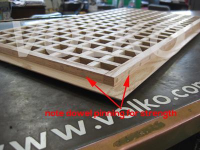 detail of eggcrate wood vent