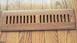 Volko wood floor vents & wood registers...trimline style grill, surface mount wood vents