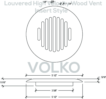 high velocity round wood vent with louvers