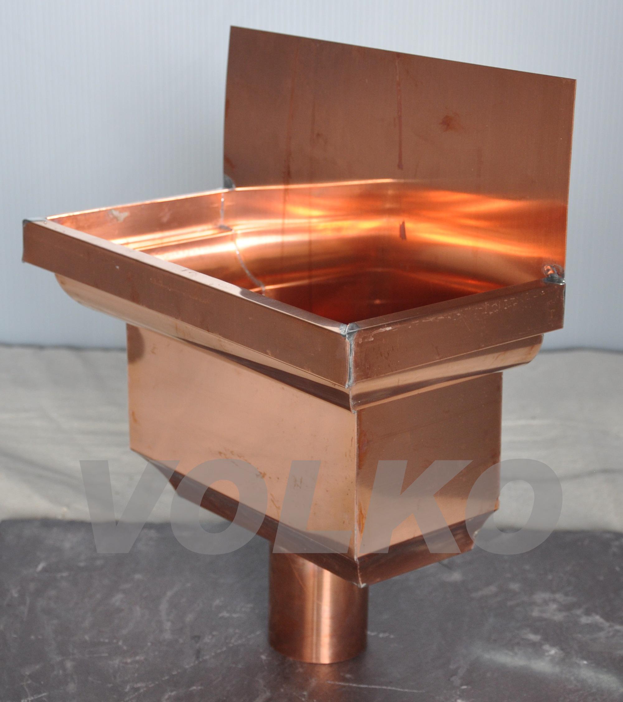 flange back custom fancy copper leaderhead