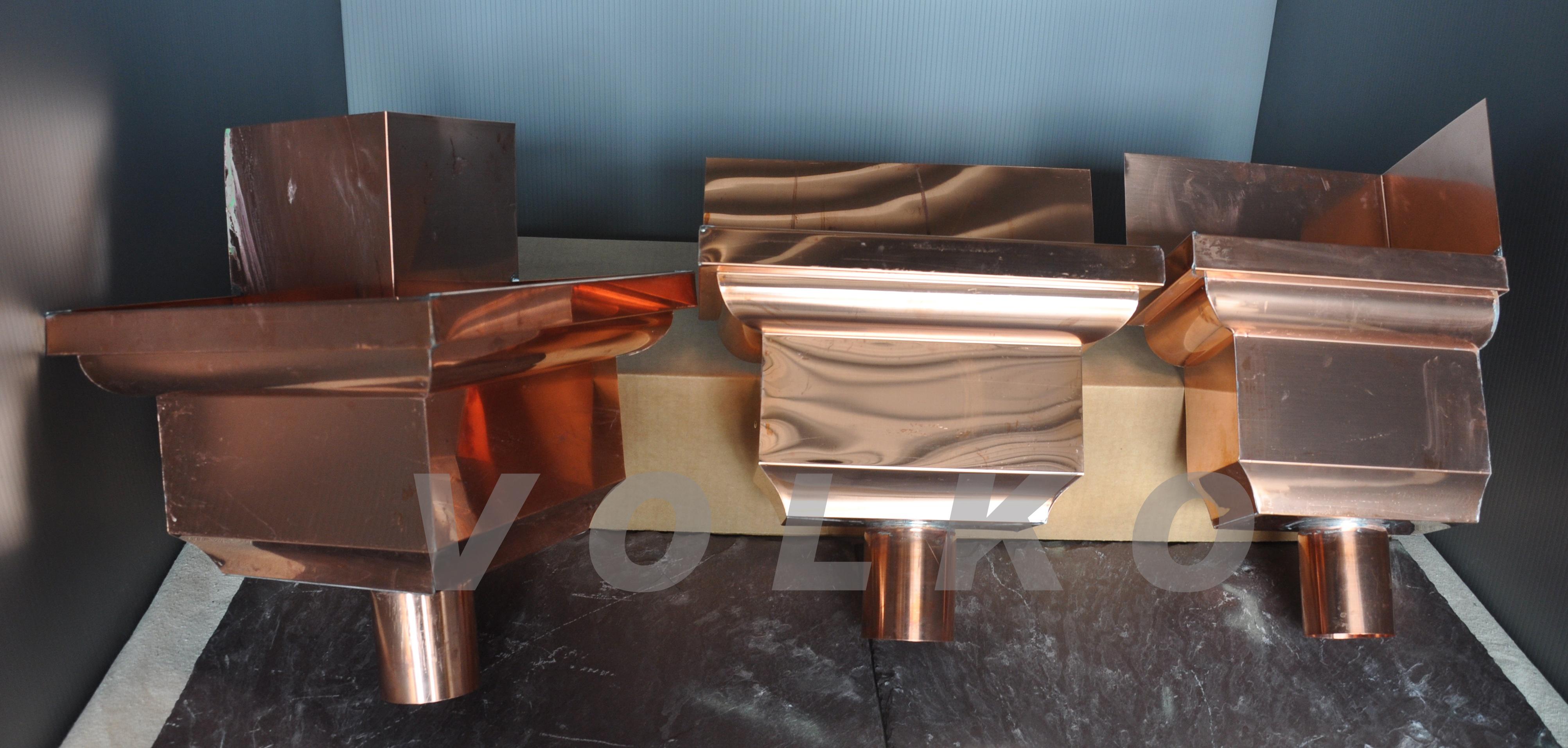 custom fancy copper leaderheads