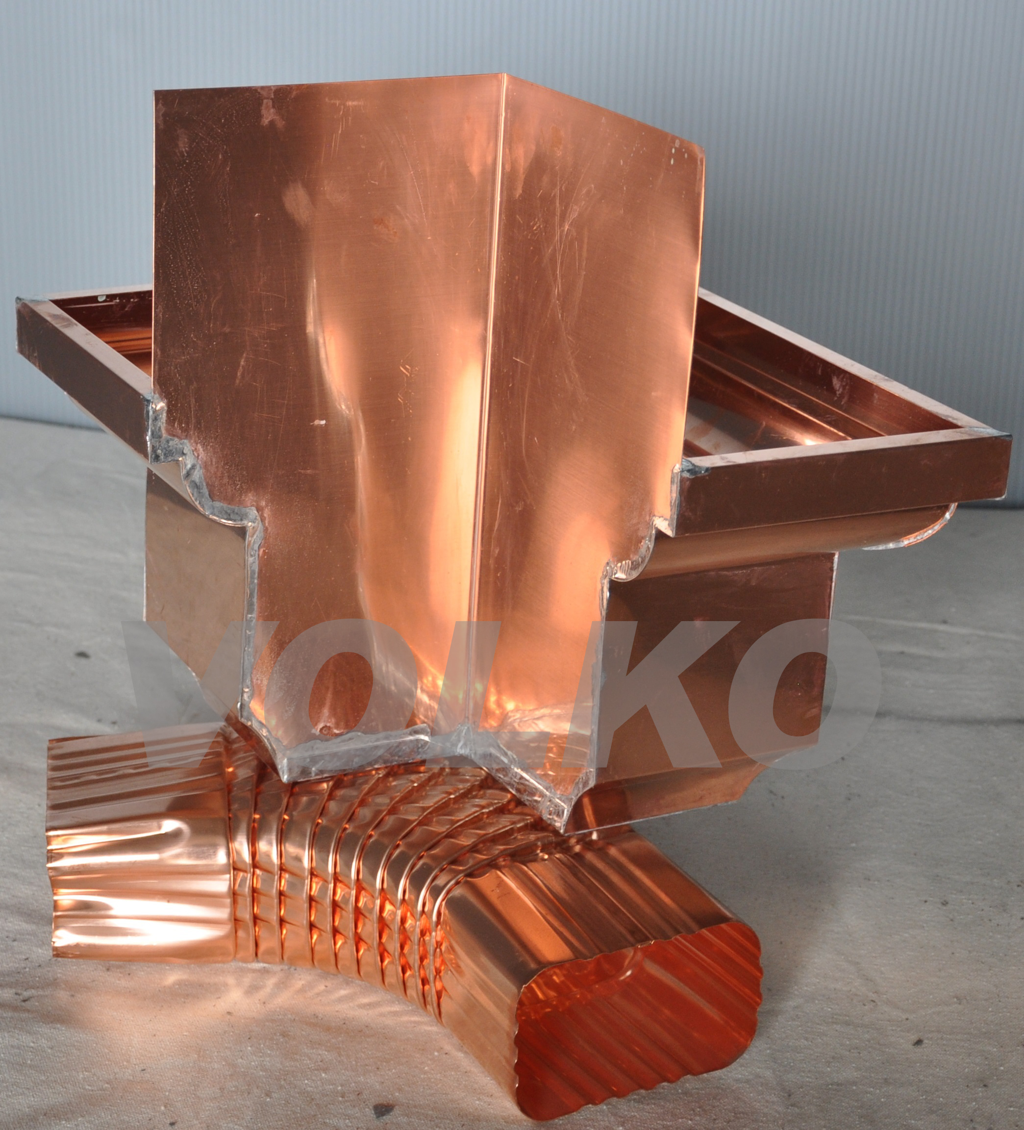back of copper leaderhead fabrication