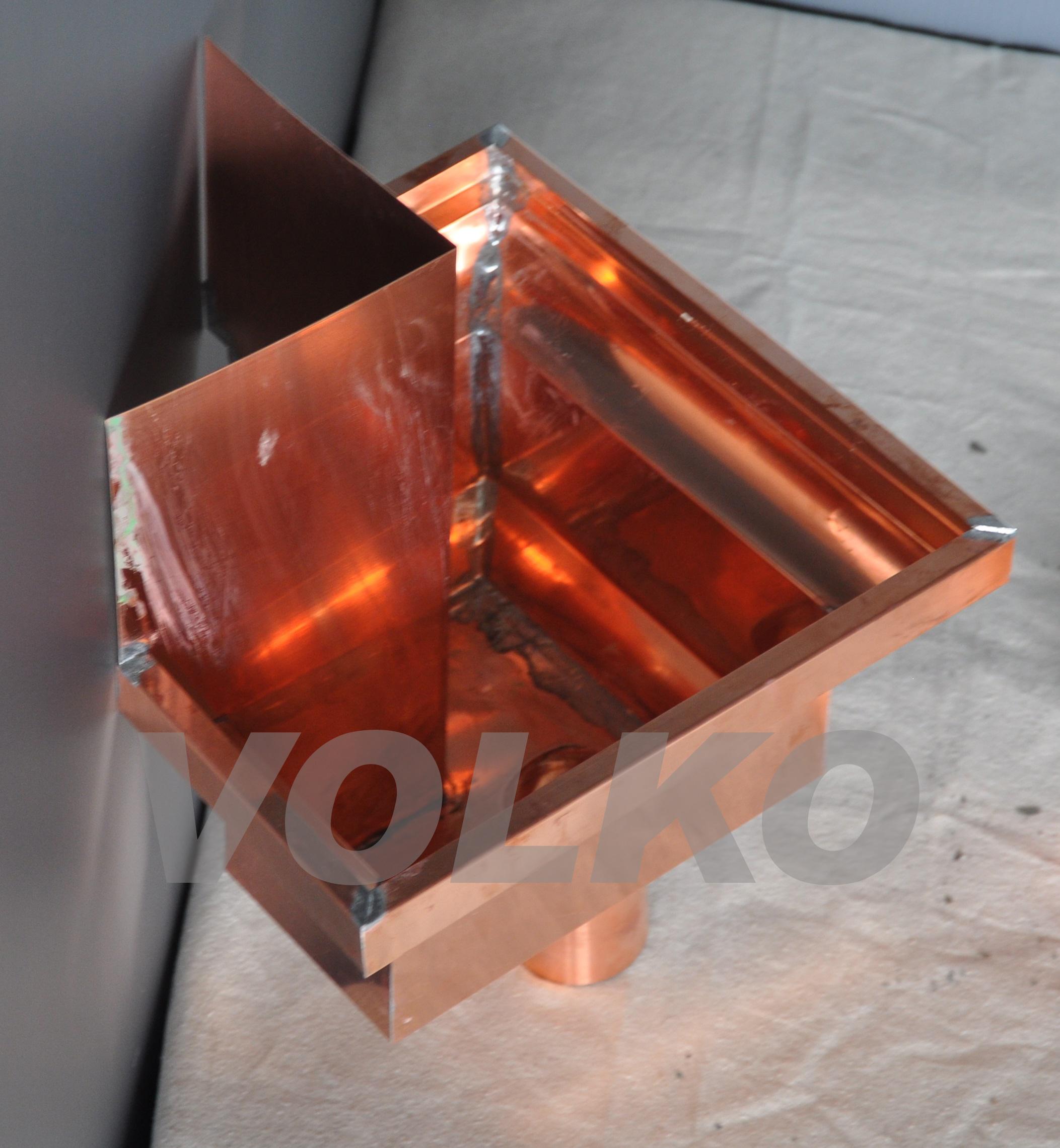 top view custom copper leaderhead mitre collector box