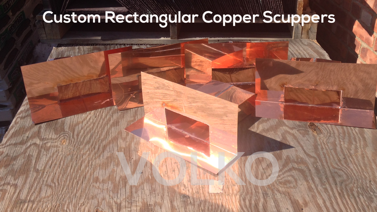 custom rectangle copper scuppers