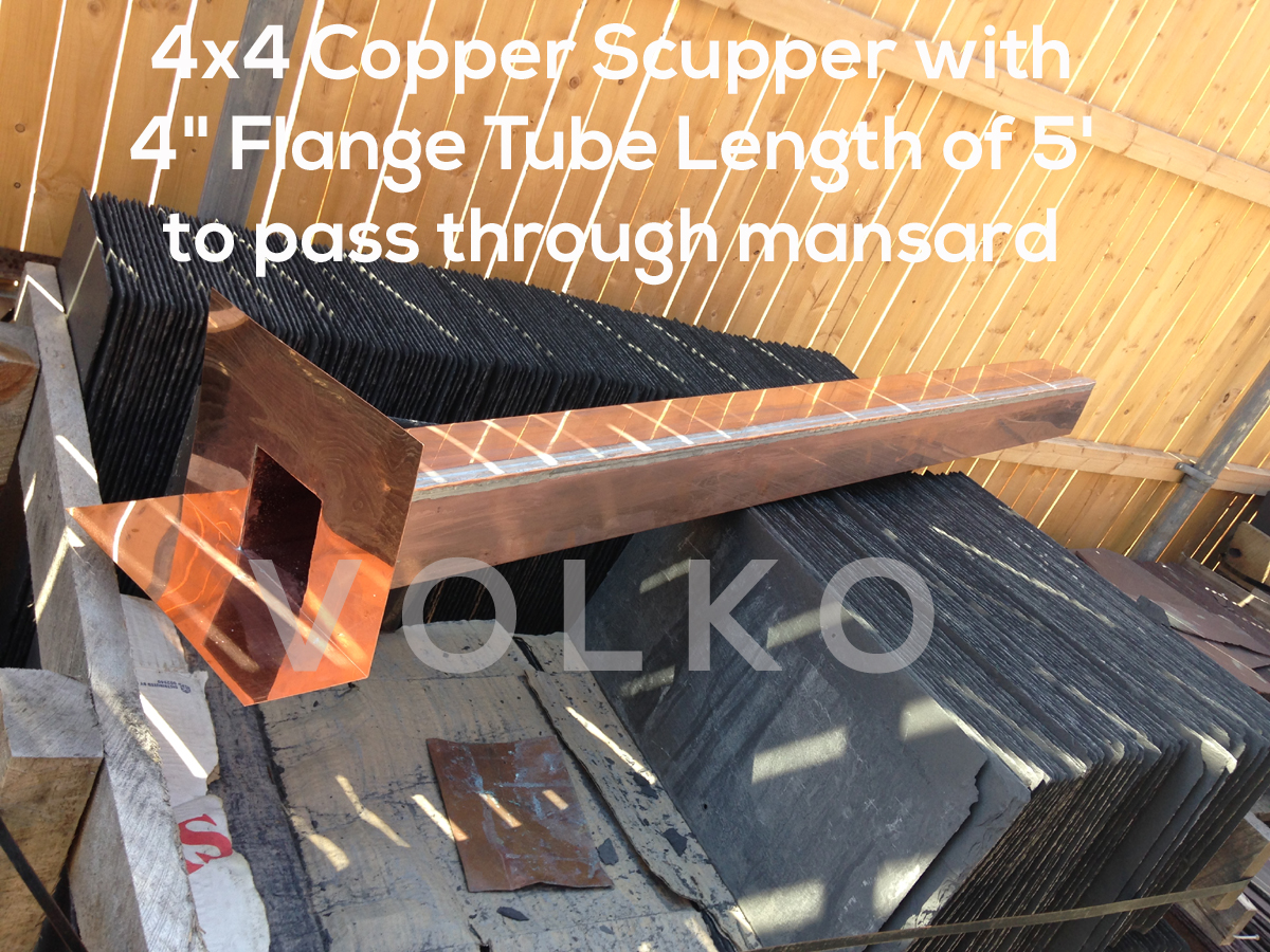 long custom copper scupper roof drain