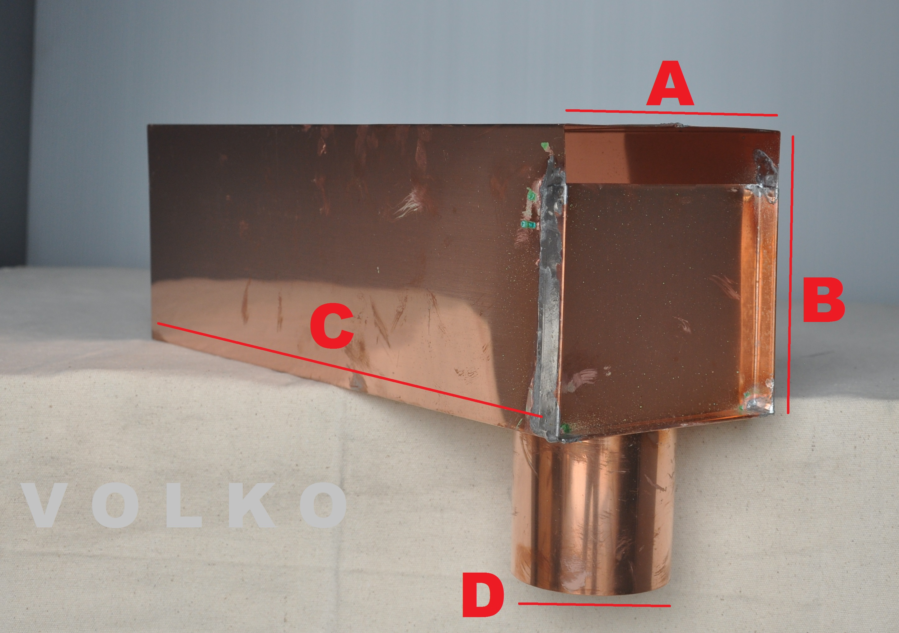 copper through wall leader box copper side roof drain